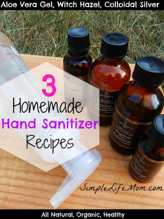 3 Homemade Hand Sanitizer Recipes from Simple Life Mom. All Natural and Healthy ingredients