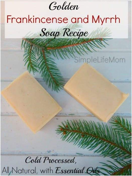 Golden Frankincense and Myrrh Soap Recipe - cold processed with essential oils from Simple Life Mom