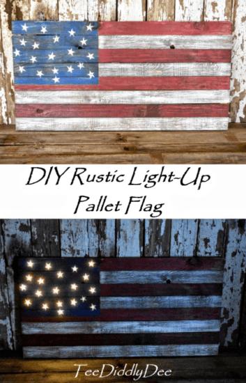 Homestead Blog Hop Feature - DIY Rustic Light Up Pallet Flag