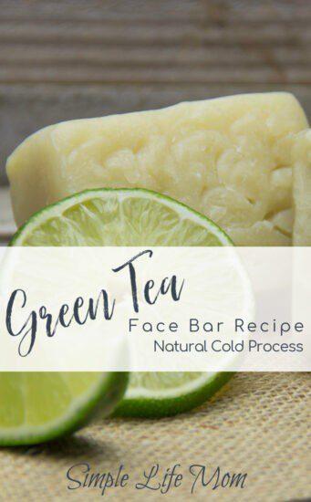 Green Tea Face Bar Recipe - cold process soap recipe from Simple Life Mom