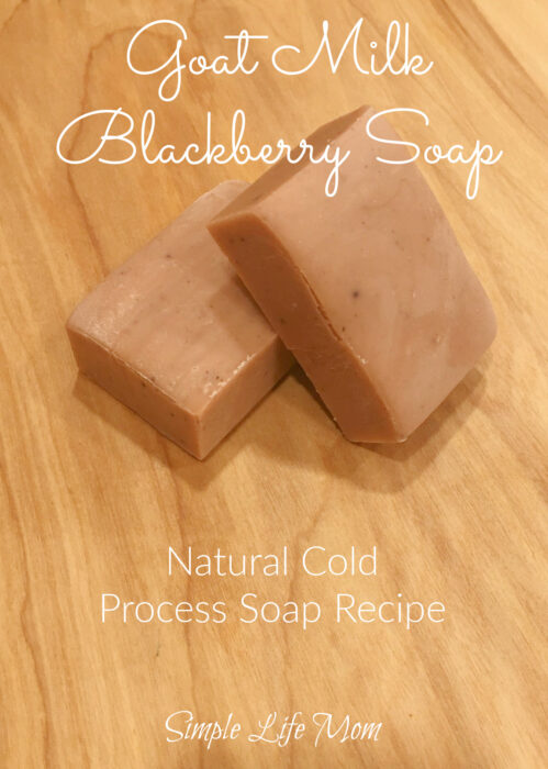 Goat Milk Blackberry Soap Recipe. A natural cold process soap recipe from Simple Life Mom