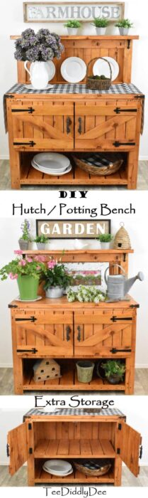 Homestead Blog Hop Feature DIY Farmhouse Potting Bench