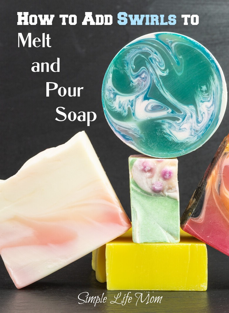 Swirling Melt and Pour Soap, how to, recipe, correct temperatures, and herbal colorants