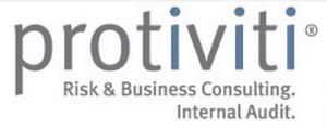 protiviti wordmark logo in grey with the i's blue