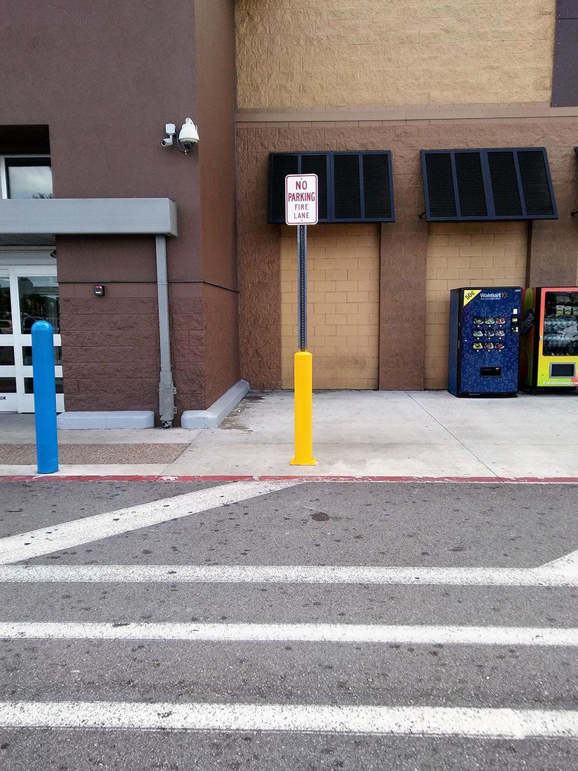 Sign and Bollard at Walmart 3200 NW 79th St