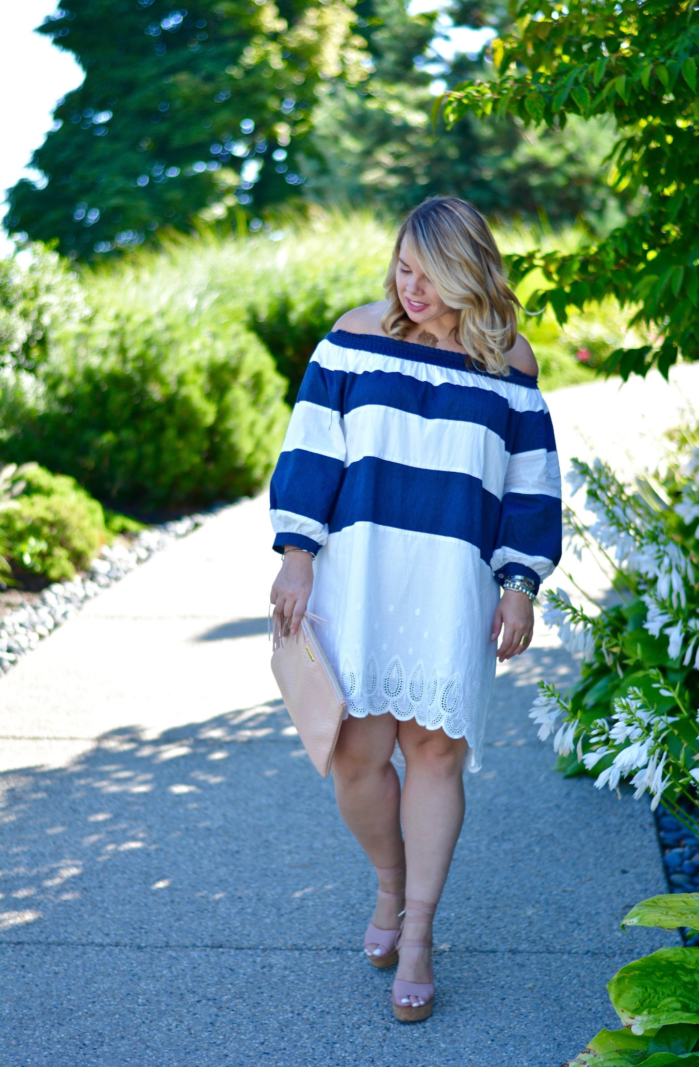 striped OTS dress