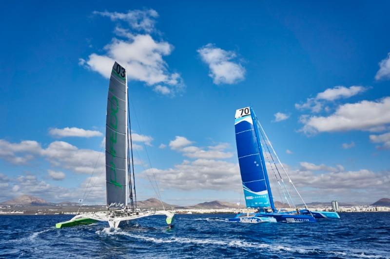 Lloyd Thornburg's American MOD 70 Phaedo3 is back to defend their record but will be up against stiff competition; Tony Lawson's British MOD 70 Concise 10, skippered by Ned Collier Wakefield © RORC/James Mitchell