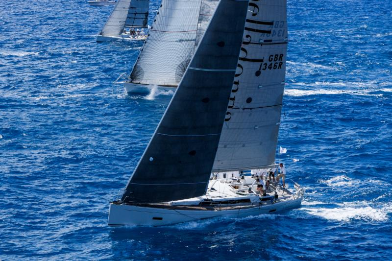 Grand Soleil 46, Belladonna, skippered by RORC Admiral Andrew McIrvine with RORC Commodore, Michael Boyd as navigator leads IRC One © RORC/Tim Wright