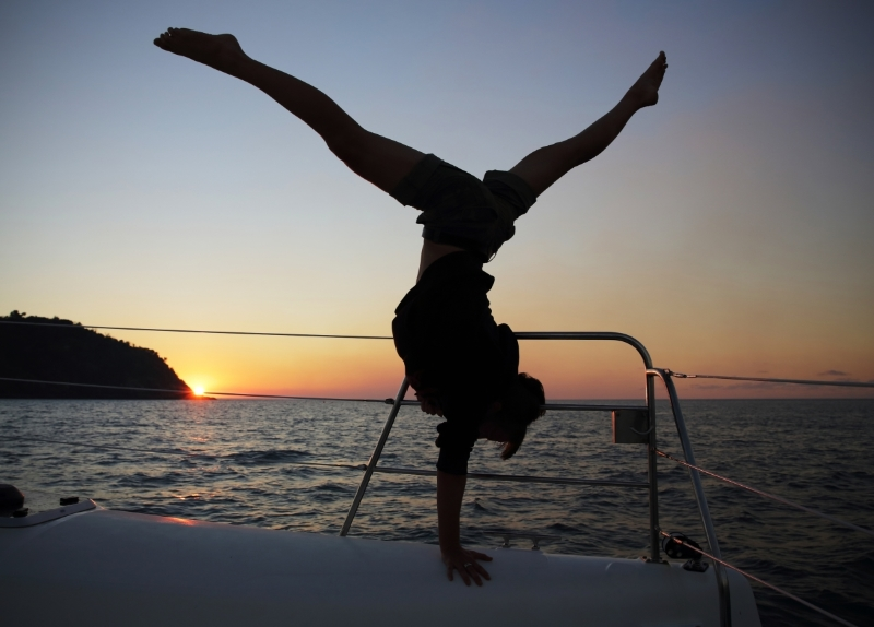 Sunset Handstand, Whitsundays, Queensland,Australia. Photo Sailing Tranquilo