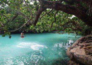 Swinging into the Blue Lagoon, Vanuatu. Photo Sailing Tranquilo
