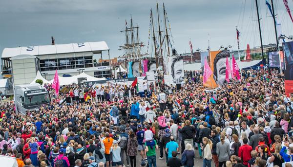 June 27, 2015. Inmarsat In-Port Race Gothenburg. Prizegiving in the Race Village.