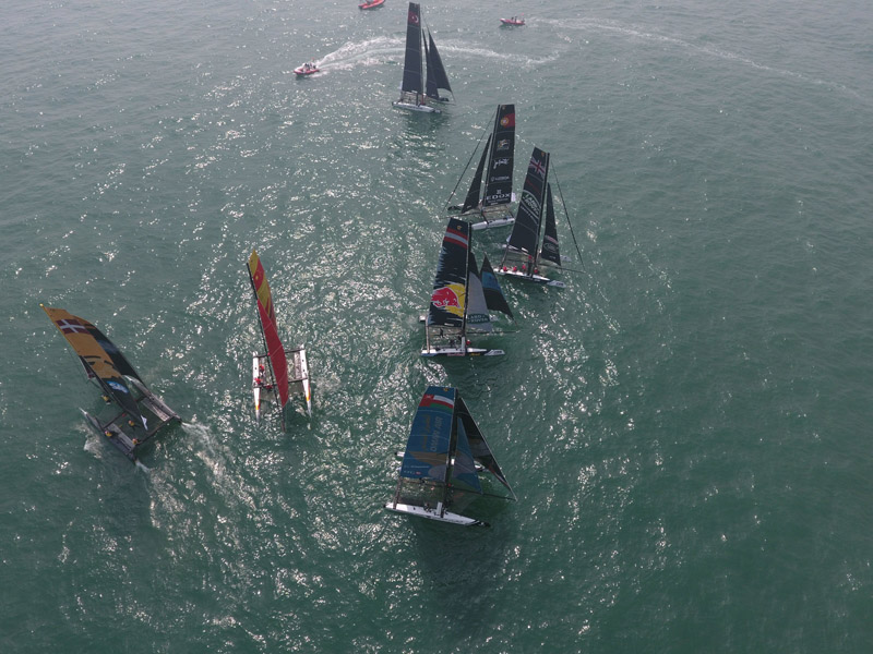 Participants perform during the Extreme Sailing Series Act 2 in Qingdao, China on May 1, 2016  // Lloyd Images/ Extreme Sailing Series / Red Bull Content Pool