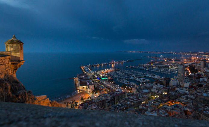 September 29, 2014. View of the Village by night from Santa Barbara's Castle. Ainhoa Sanchez/Volvo Ocean Race
