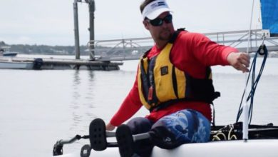 "Photo of Bradley Kendell: ""When I sail, I leave my Wheelchair in the Dock"""