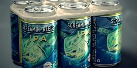 Saltwater Brewery Screamin' IPA cans and edible six-pack rings.