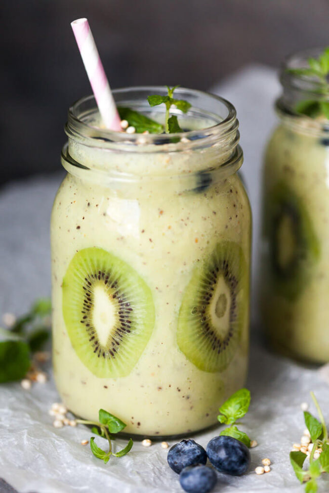 Kiwi Banana Smoothie with blueberries by Vibrant Plate
