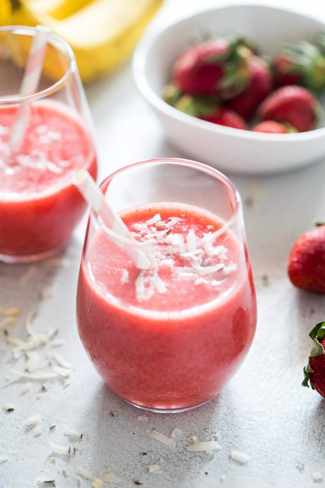 Strawberry banana coconut smoothies