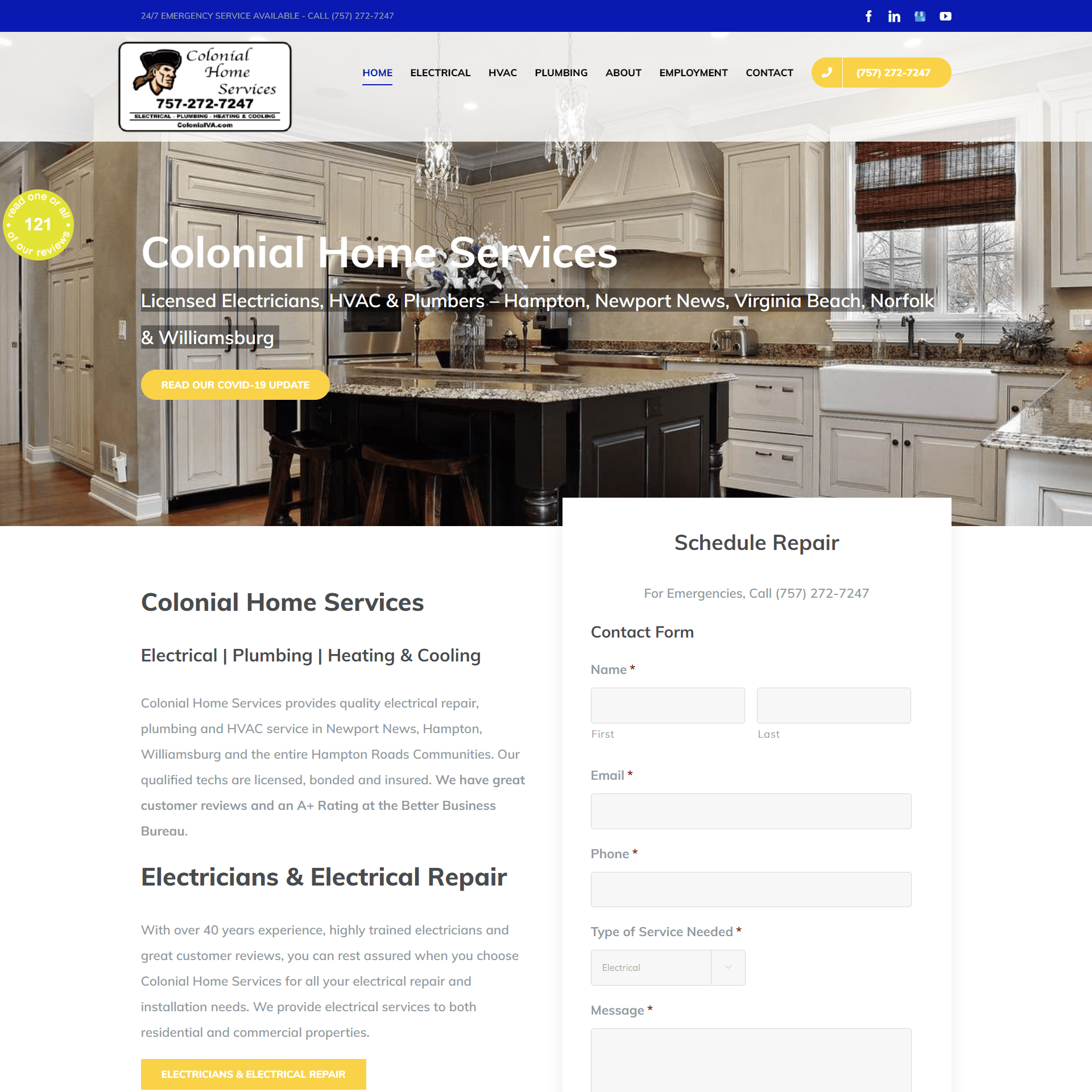 Colonial Home Services Website