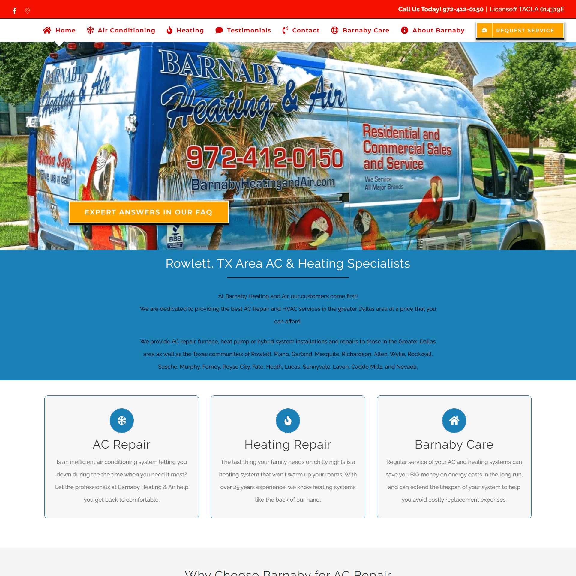 Barnaby Heating and Air Website