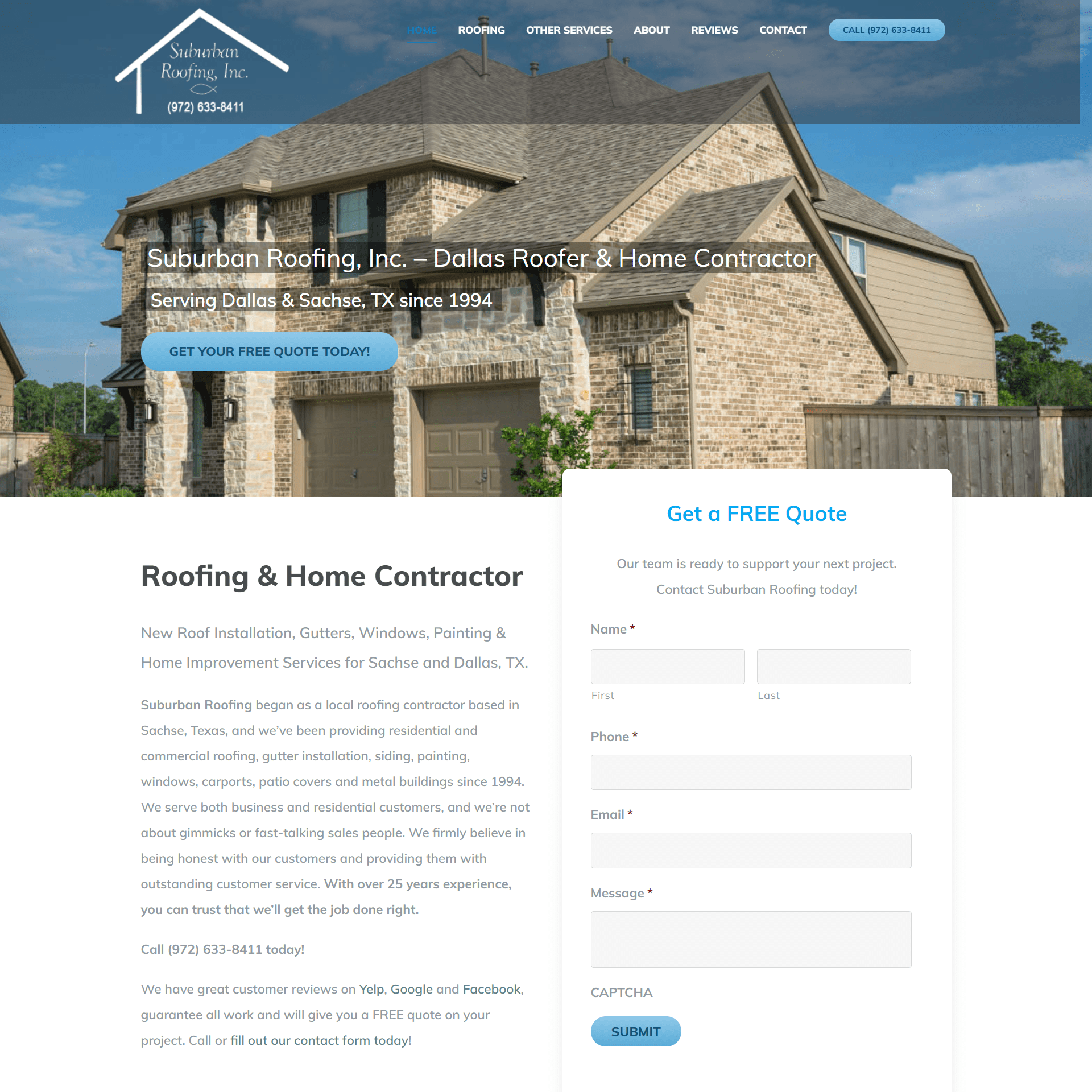 Suburban Roofing Website