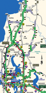 Just a solid line of black from Lynnwood to Seattle on the WSDOT map.