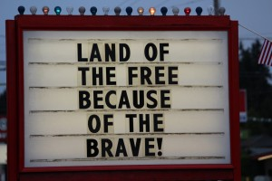Land of free sign