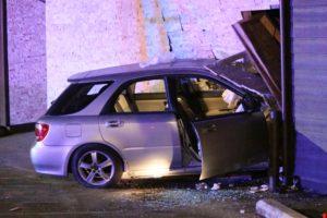 car crashes into Romios