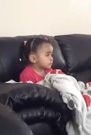 Sad Little girl cries over Mufasa The Lion King
