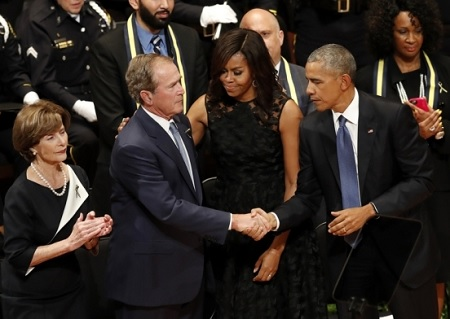 President Obama & George Bush Speech at the Tribute for Dallas Fallen Officers