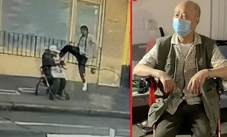 Asian man viciously kicked to the ground scared to step outside.