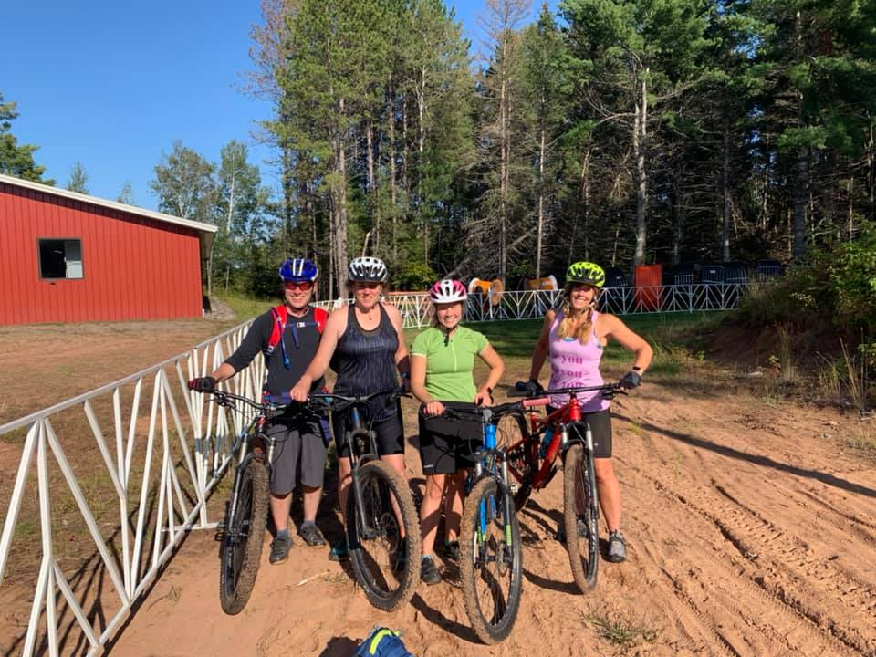 mom's mountain biking at the Birkie start line