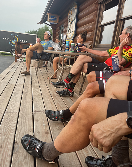 Relaxing on the deck after the group ride