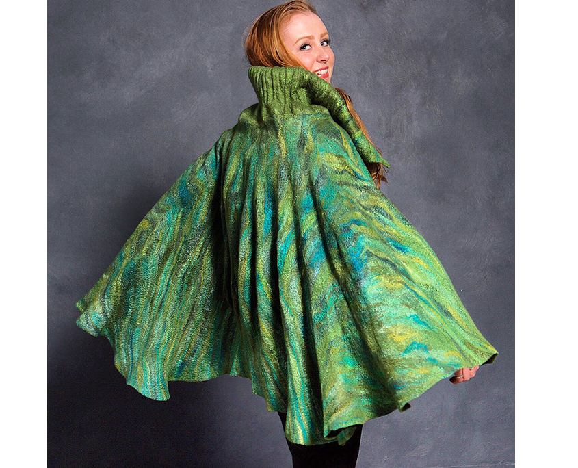 Our favorite model, our daughter Kirsten Firth, modeling a Robbin Firth one-of-a-kind merino wool & silk felted cape