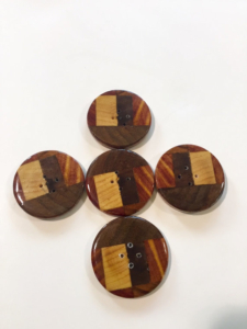 Inlaid Wood Buttons handcrafted by Harry Firth and Al Firth for HeartFelt Silks