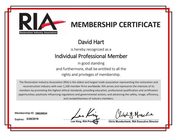 RamAir-Restoration Industry Association membership certificate (RIA)