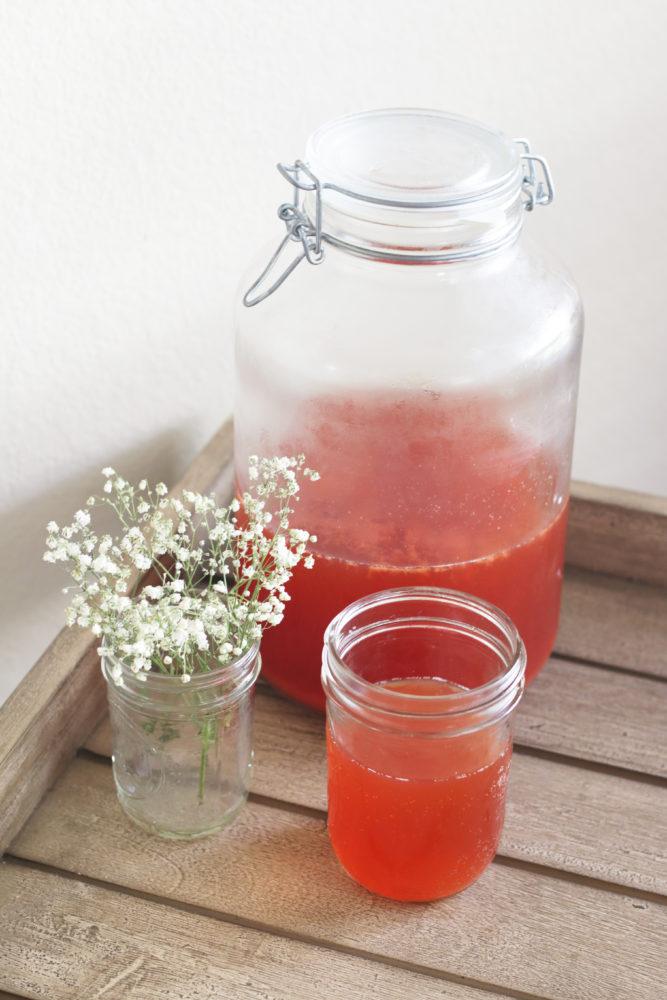 Homemade Strawberry Kombucha