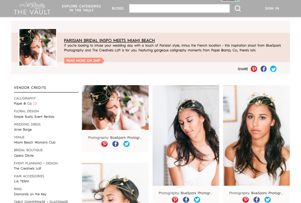 PRESS - FEATURED IN STYLE ME PRETTY - MIAMI FLORIDA WEDDINGS - Our Chic Parisian Styled Shoot Featured in Style Me Pretty Wedding Blog