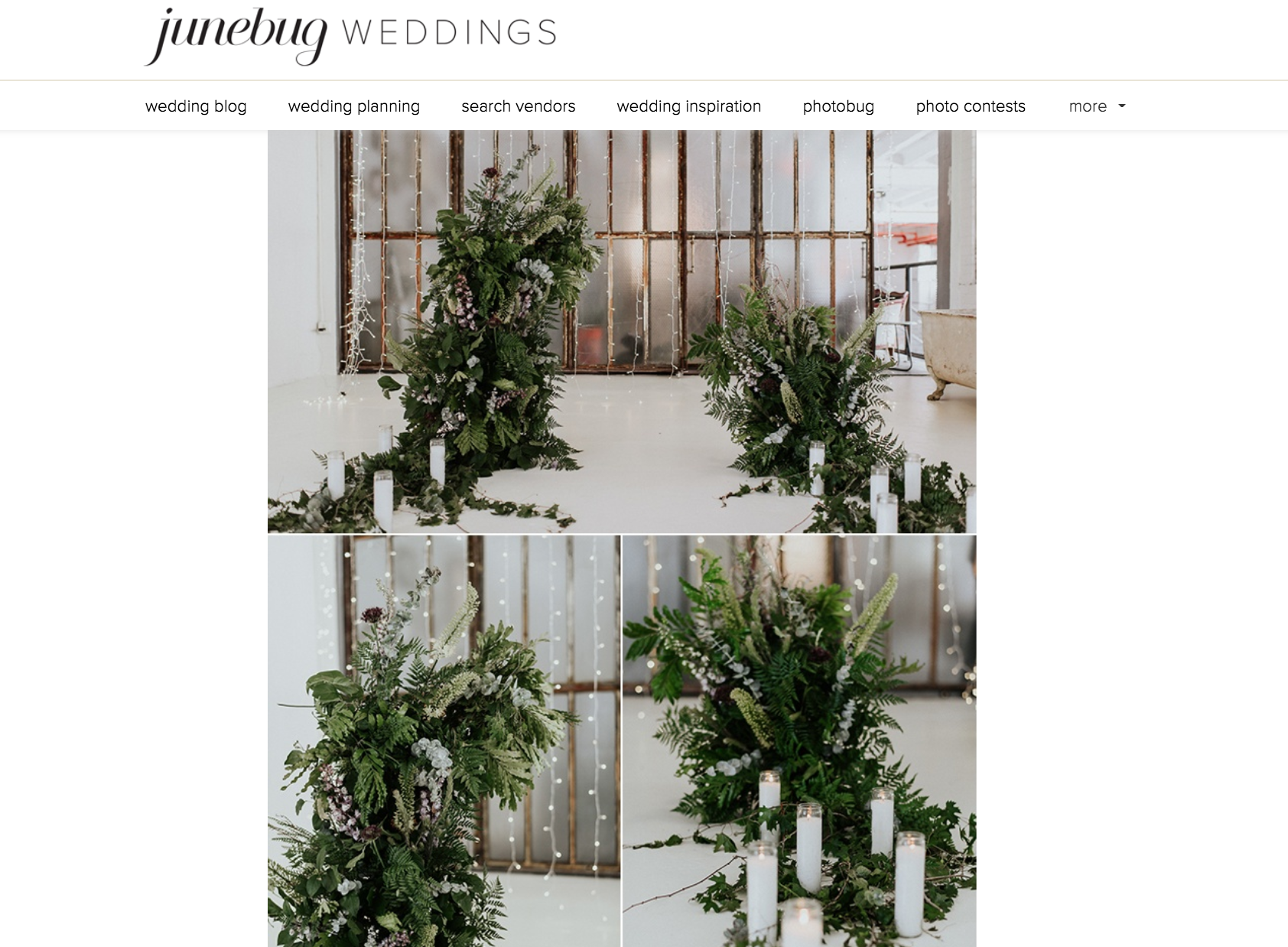 Featured On Junebug Weddings our Rough Luxe Elopement at ACE Props