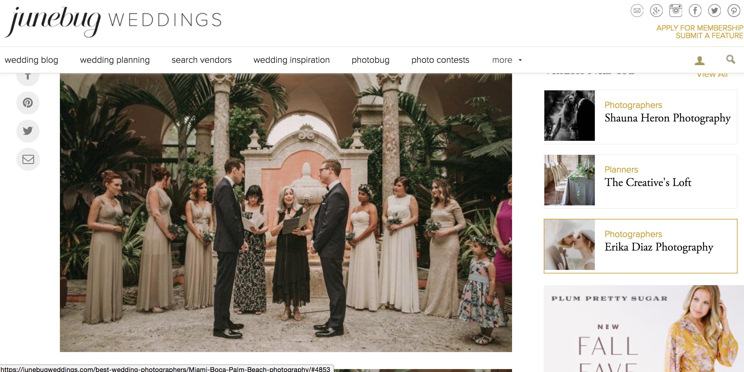 Featured on Junebug Weddings our Vizcaya Wedding The Creatives Loft Miami Wedding Planner Pablo Laguia Wedding Photographer