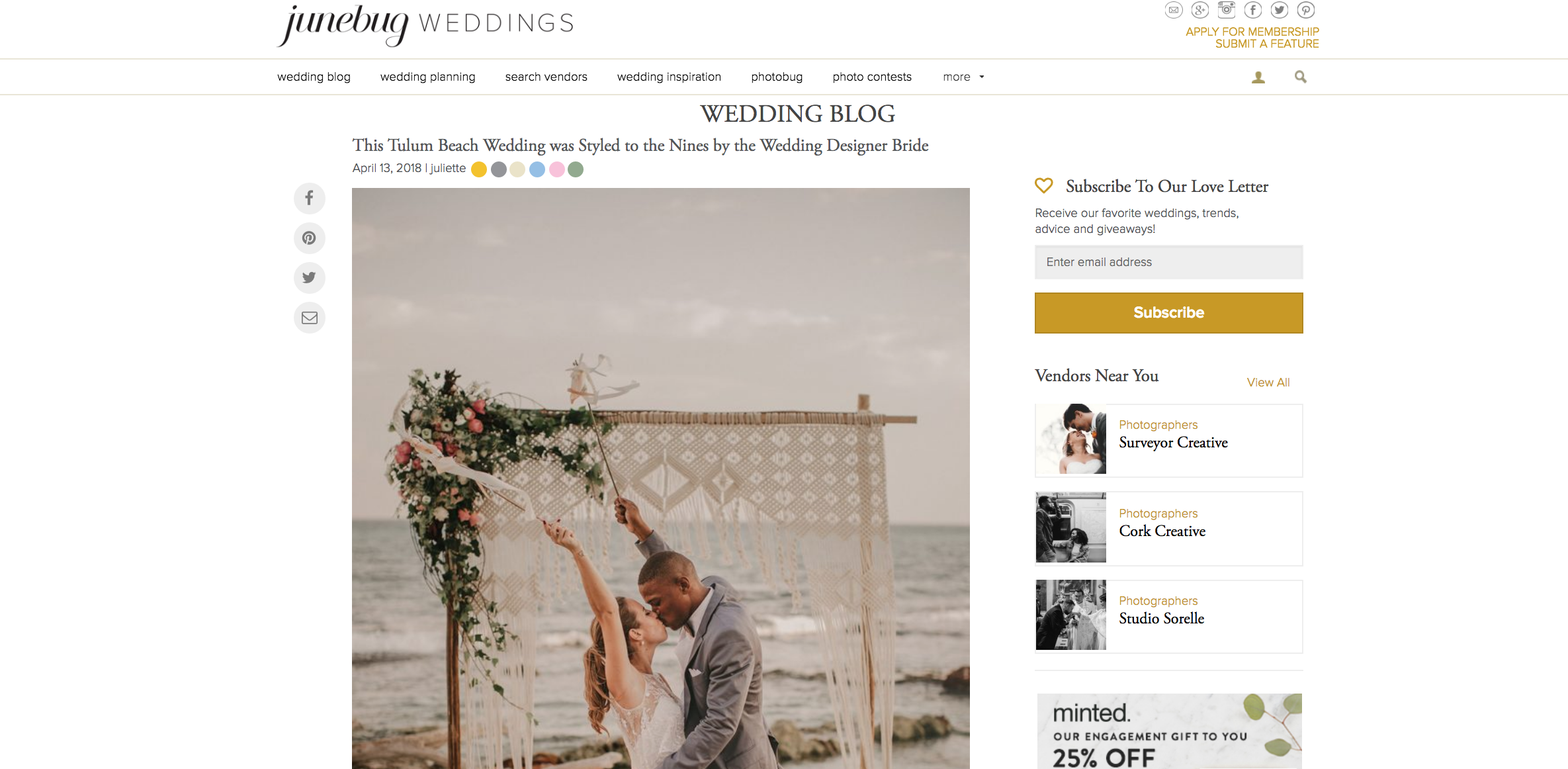 Featured on Junebug Weddings our Boho Beach Wedding The Creatives Loft