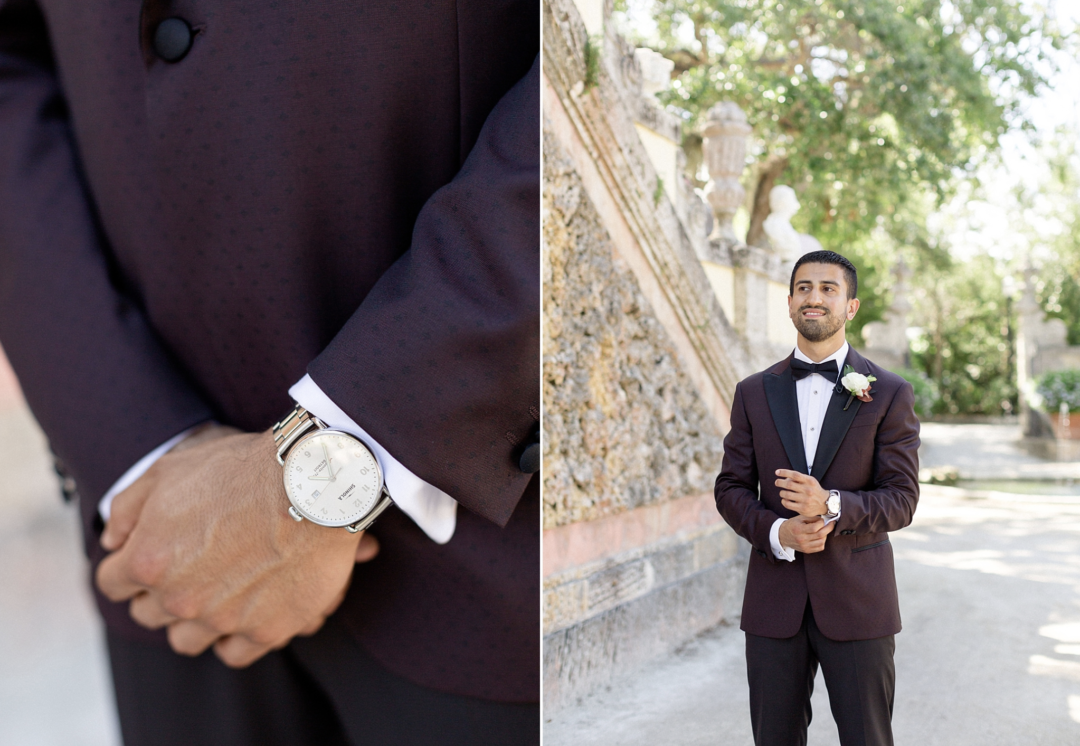 A unique Vizcaya Museum Wedding in Miami The Creatives Loft Weddings Miami Groom's Waiting for the first look