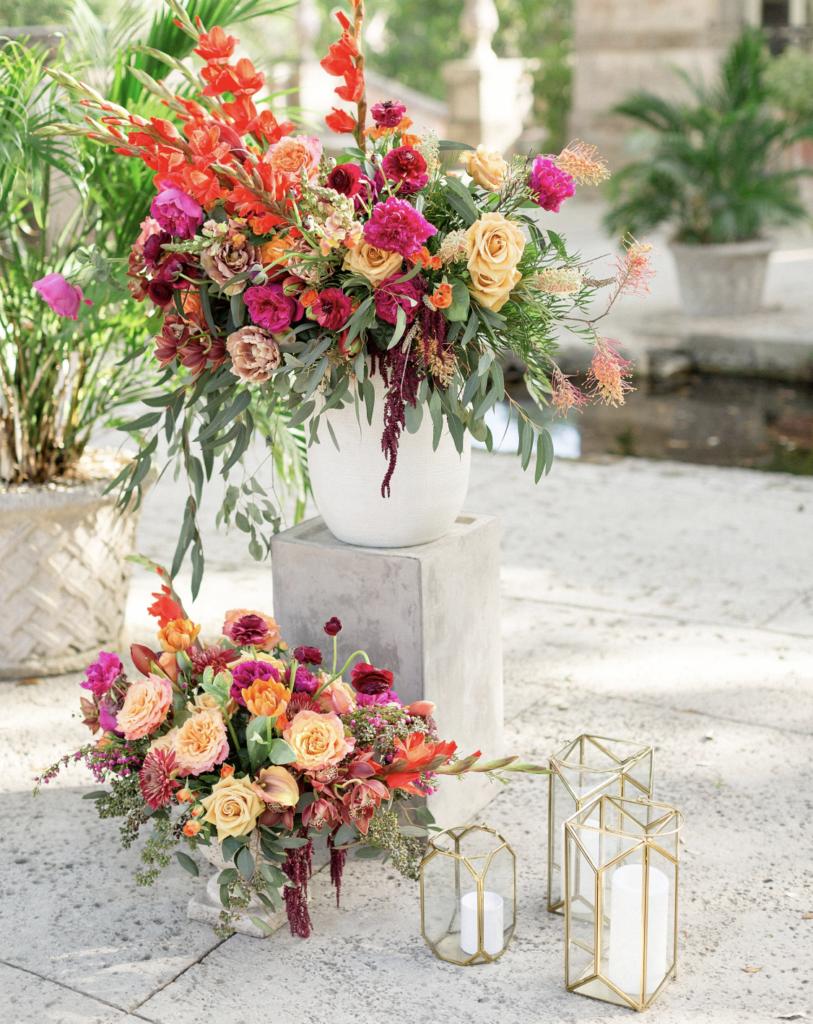 A unique Vizcaya Museum Wedding in Miami The Creatives Loft Weddings Miami floral arrangements at ceremony