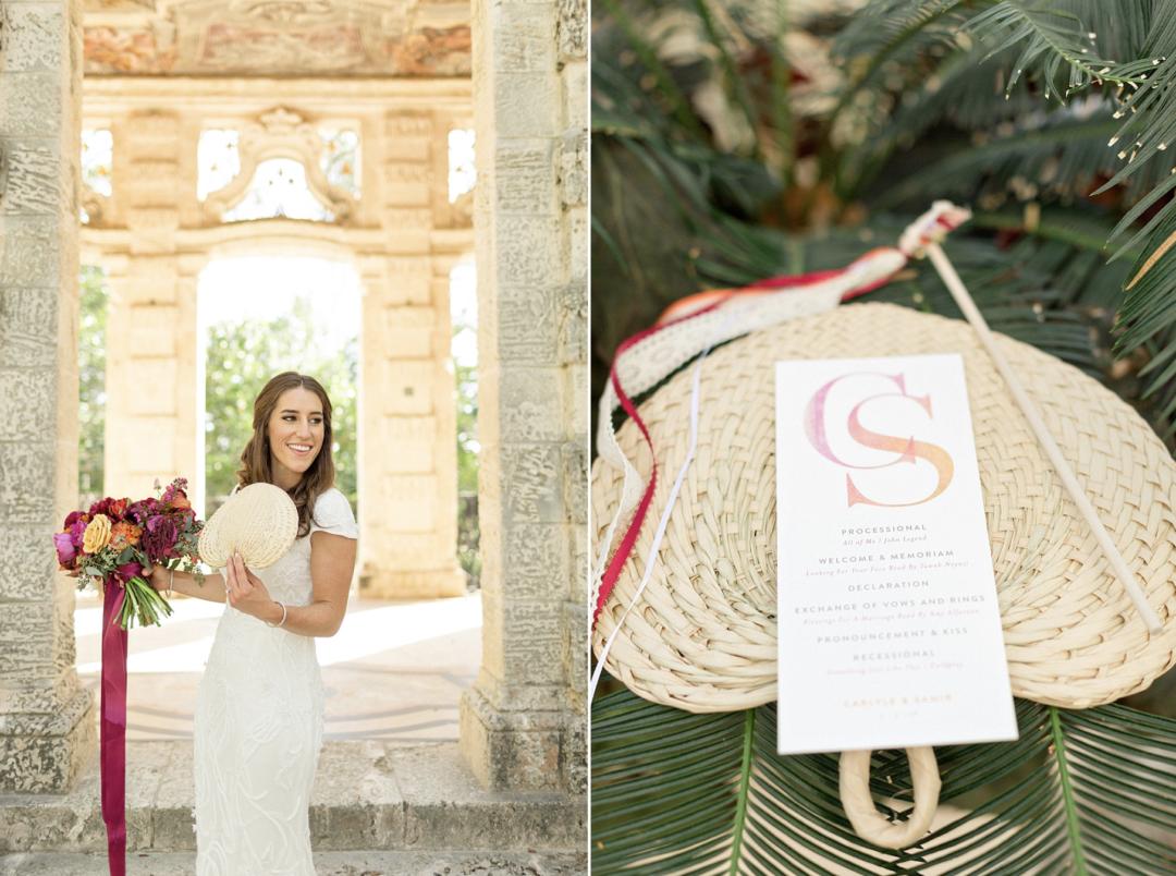 A unique Vizcaya Museum Wedding in Miami The Creatives Loft Weddings Miami Ceremony Fan Details