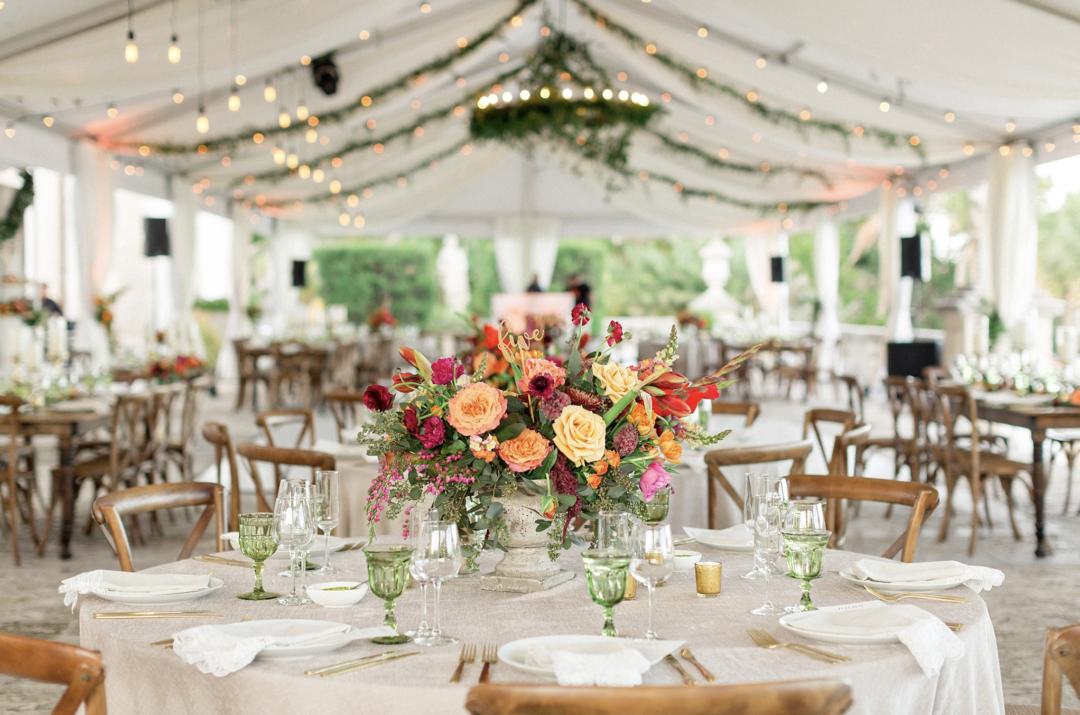A unique Vizcaya Museum Wedding in Miami The Creatives Loft Weddings Miami Wedding Reception Overall Vision of the Tent
