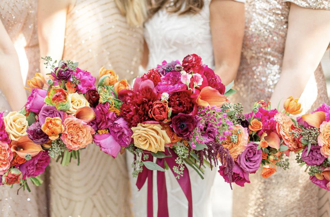 A unique Vizcaya Museum Wedding in Miami The Creatives Loft Weddings Miami Bridesmaids floral bouquets