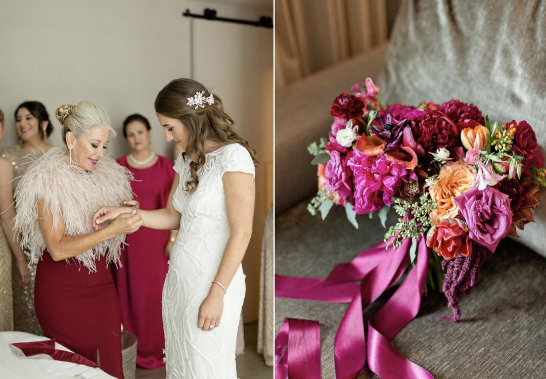 A unique Vizcaya Museum Wedding in Miami The Creatives Loft Weddings Miami Bride with her mom and bridal bouquet