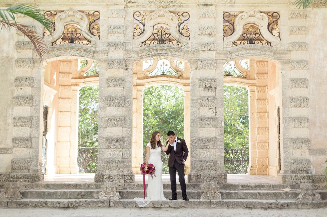 A unique Vizcaya Museum Wedding in Miami The Creatives Loft Weddings Miami Couple at Garden Mount