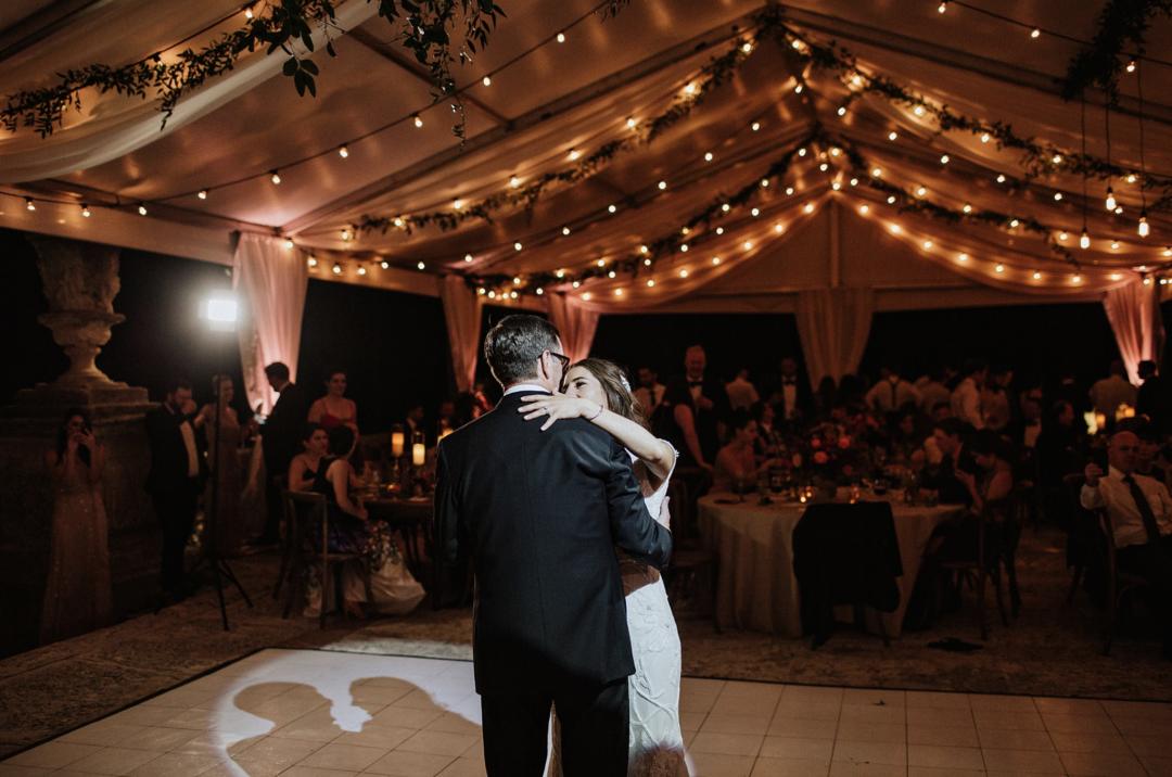 A unique Vizcaya Museum Wedding in Miami The Creatives Loft Weddings Miami bride dancing with her dad