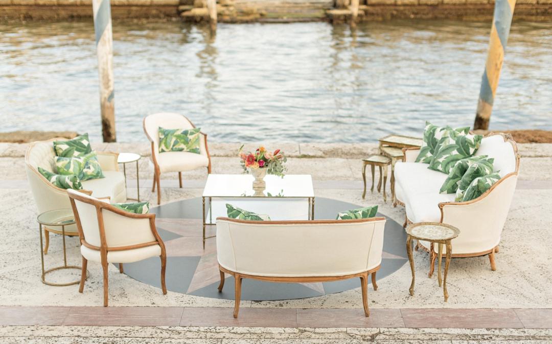 A unique Vizcaya Museum Wedding in Miami The Creatives Loft Weddings Miami Lounge areas by the water