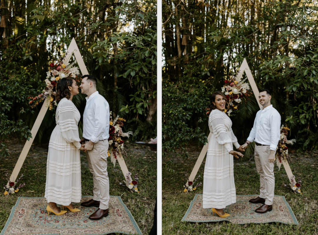 Miami Bohemian Elopement Wedding The Creative's Loft Bride and groom kissing